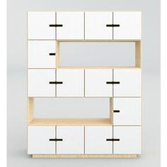minimalistischer küchenkommode in weiß für töpfe, geschirr, gläser