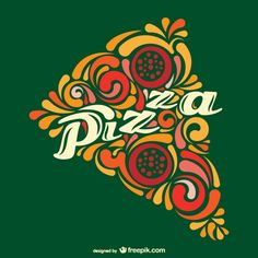 Vector porción de pizza abstracta Vector Gratis