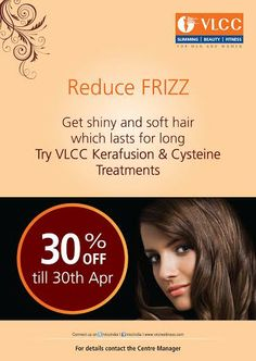 Thousands of DIYs for frizzy hair, but no time to try one out every day?  Try VLCC's Kerafusion and Cysteine treatment over the weekend - a long term solution for frizzy hair! Book now and get a whopping 30% off!