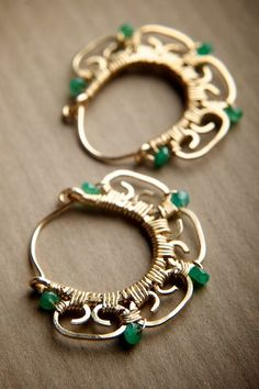 Emerald and Gold Filigree Small Hoop Earrings: Nanda