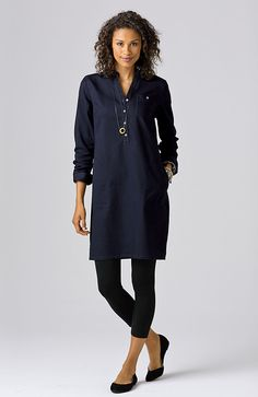 dresses > band-collar denim shirtdress at J.Jill