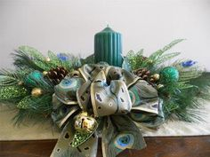 Peacock Holiday Centerpiece by Pebble Creek Wreaths Peacock Centerpieces, Holiday Centerpieces, Peacock Christmas, Christmas Wreaths, Seasonal Decor, Holiday Decor, Serendipity, Fascinator, Basket