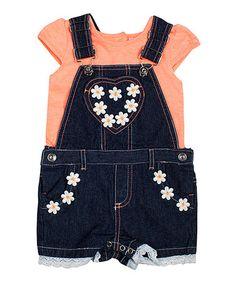 Another great find on #zulily! Denim Daisy Shortalls & Coral Tee - Infant, Toddler & Girls #zulilyfinds
