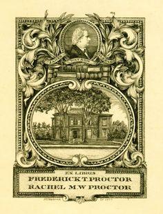 Bookplate for Arthur Nelson MacDonald for Frederick T Proctor & Rachel M W Proctor, 1909