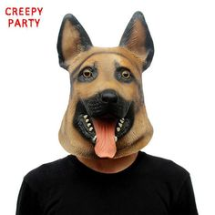 German Shepherd Latex Party Mask Full Face Dog Head Animal Masquerade Masks Cosplay Costume Fancy Dress Party For Halloween