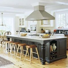 Kitchens are New Family Rooms--Plan to convert partially closed off stove top into an open island with suspended vented hood--new open area will extend into living area making it into conversation/eating area. i want my stove in the center of the kitchen like that.. seems like it would be safer too! ;)