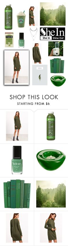 """""""SheIn Green"""" by sophielinx ❤ liked on Polyvore featuring Kale, Londontown, Kosta Boda and Polaroid"""