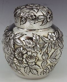 Kirk repousse sterling tea caddy
