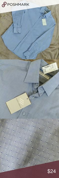 """NWT Men's - perfect shirt!!!!! Beautiful blue with slight sheen, tiny diamond-like pattern -- really nice! Size S but fits M nicely! 20  1/2""""  under Joseph Abboud Shirts"""