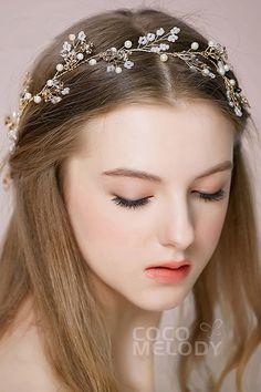 Elegant Gold Alloy Wedding Headbands with Imitation Pearl and Crystal SAH160011Cocomelody#weddingheadpiece#bridaljewelry#