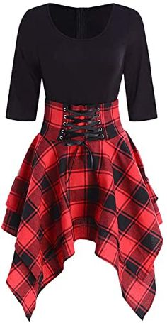 Women Lace Up Plaid Asymmetrical Dress O-NeckDescription Occasion: Daily Style: Casual Material: Cotton,Polyester Silhouette: Asymmetrical Dresses Length: Knee-Length Neckline: O-Neck Sleeve Length: Half Sleeves Pattern Type:. Elegant Dresses, Pretty Dresses, Vintage Dresses, Casual Dresses, Maxi Dresses, Formal Dresses, Awesome Dresses, Wedding Dresses, Casual Outfits