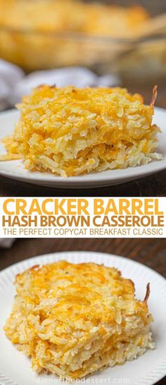 Cracker Barrel Hash Brown Casserole is the perfect copycat breakfast classic with shredded hash browns, cheddar cheese, sour cream and condensed soup. # breakfast casserole Cracker Barrel Hash Brown Casserole (Copycat) - Dinner, then Dessert Potato Dishes, Food Dishes, Side Dishes, Potato Soup, Queso Cheddar, Cheddar Cheese Recipes, Breakfast Dishes, Breakfast Casserole Hash Browns, Easy Hash Brown Casserole