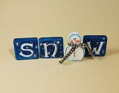 Snowman Wood Blocks SNOW Shelf Sitter by WoodnKnees on Etsy, $12.00