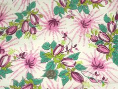Vintage pink blue floral meadow feedsack feed flour sack SAS NOS cotton quilting fabric material