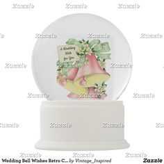 Shop Wedding Bell Wishes Retro Charm Mid-century Snow Globe created by Vintage_Inspired. Wedding Wishes, Wedding Bells, Cheap Christmas Gifts, Stone Chips, Customizable Gifts, Faux Stone, Glass Globe, Classic Toys, Winter Scenes