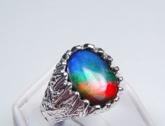 16x12mm Top Quality Ammolite Set in a Heavy Sterling Silver Mens size 10 Eagle Ring. - Ammolite Jewelry From Canada