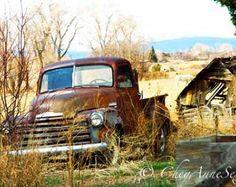 Alten 1952 blauen Chevy Winter LKW Kunst antike von CheyAnneSexton