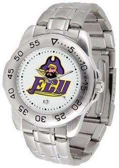 East Carolina Sport Men's Steel Band Watch by SunTime. $54.95. This handsome, eye-catching watch comes with a stainless steel link bracelet. A date calendar function plus a rotating bezel/timer circles the scratch resistant crystal. Sport the bold, colorful, high quality logo with pride.