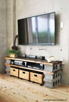 Creative and resourceful DIY cinder block tv stand