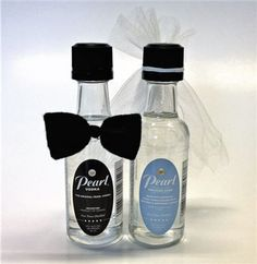 #Wedding Cake flavored Pearl Vodka mini's, dressed for the occasion with a cute bow tie and veil. LOVE these!