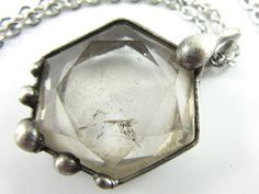 the north star  carved quartz star pendant  merkaba necklace