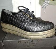 Scarpe Donna PORTOFINO Nero Pelle 100% Made in Italy Sneakers New Collection  | eBay