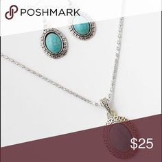 NECKLACE SET Turquoise silver necklace set Jewelry Necklaces