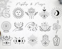 Cute Tiny Tattoos, Mini Tattoos, Small Tattoos, Unique Small Tattoo, Flash Art Tattoos, Illustration Tattoo, Mystic Symbols, Poke Tattoo, Thin Tattoo