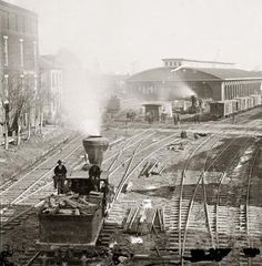 This is an unusual picture of Atlanta, Georgia, taken in You can see a period locomotive, and what looks like a depot in the backgrou. Old Pictures, Old Photos, Vintage Photos, Rare Photos, Steam Pictures, American Civil War, American History, American Pie, Monochrome