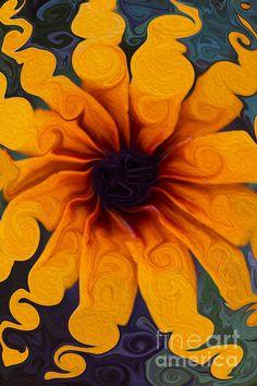 Sunflowers On Psychadelics Painting by Omaste Witkowski #art #omastewitkowski #sunflower