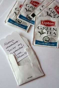 WhiMSy love: Lunch Notes: Tea-ny Tiny Notes. Love this! Recycle those tea bag envelopes and put little notes in them.