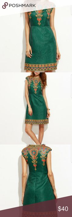 Sleeveless shift dress New embroidered colorful green elegant dress size large but runs  small will fit a medium Dresses
