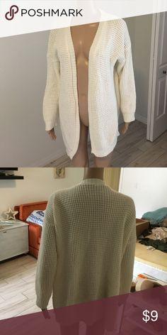 Cardigan Cream open knit cardigan, long fit Sweaters Cardigans