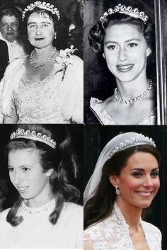 4 royal brides 1tiara. the scroll tiara commisioned from Catier by King George the VI, 3 wks before the coronation in 1936 for Queen Elizabeth the Queen Consort. Then passed to their daughter Queen Elizabeth II who never wore it in public, but loaned it to sister Princess Margaret, 2pic. She also loaned it to her only daughter Anne lower left,in her young married years. Queen ELizabeth II most recently loaned this tiara to Catherine Middleton for her wedding to her Grandson Prince William