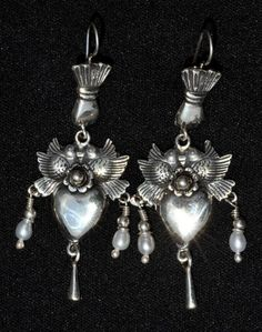 TAXCO MEXICO STERLING SILVER DANGLE VINTAGE STYLE EARRINGS