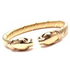 Cartier Panther Panthere 18k Tri-Color Gold Cuff Bangle Bracelet - www.fortrove.com
