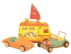 An Irwin Corp. Barbie Convertible 1962-63, an Irwin Corp. Barbie Hot Rod 1963-64 and a Country Camper No.4494, 1971