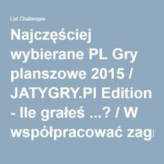 Najczęściej wybierane PL Gry planszowe 2015 / JATYGRY.Pl Edition - Ile grałeś ...? / W współpracować zagrałaś / es ...?