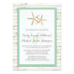 Wood Wedding Invitations Starfish Whitewashed Wood Beach Wedding Invitation