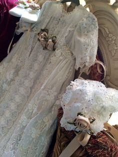 Antique lace christening gown