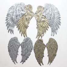 3 pair/set Gold Silvery sequined feathers wings Embroidered Iron-On Patches For Clothes Garment Applique DIY Accessory(China (Mainland))