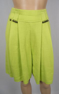 KOOKAI Knit Shorts 6 8 Green Neon Cotton Blend Made In Italy Front Jingles Bells