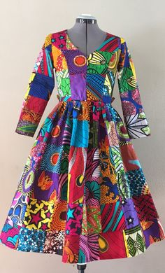 African Wax Print Genuine Patchwork Midi Dress With Pockets, Sleeves and Optional Sash African Print Dresses, African Fashion Dresses, African Dress, Fashion Outfits, Fashion Tips, African Outfits, African Clothes, African Prints, Fashion Men