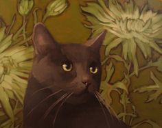 Mums and Coco modern contemporary cat painting, painting by artist Diane Hoeptner