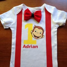 Curious george birthday onesie first birthday by Amyshandmades17