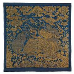A VERY RARE GOLD BROCADE RANK BADGE OF A QILIN, BUZI. Ming dynasty, 15th/16th c.