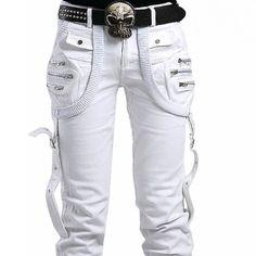 Mens White Japanese Alternative Scene Clothing Gothic Punk Casual Pants SKU-11404093