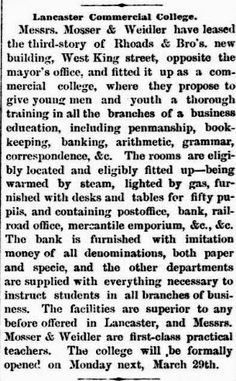 Genealogical Gems: On This Day: Commercial College opens in Lancaster...