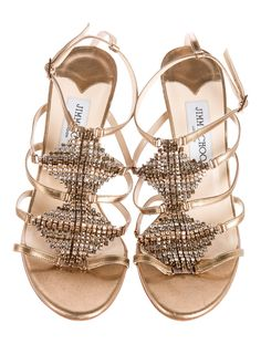 Jimmy Choo Embellished Leather Sandals - Shoes - JIM46631 | The RealReal