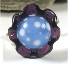 ARTISAN handmade LAMPWORK glass bead ring purple by Annelibeads